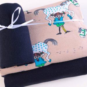 "Stoff-Paket   ""Pippi Langstrumpf""   cappucino/marine by Elvelyckan Design"