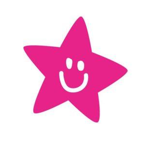 """Bügelbild Plot mini """"Starface"""" 5,5×5,5 cm  in neon pink  DIY"""